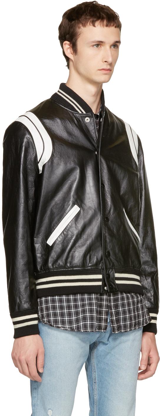 SAINT LAURENT Black & White Leather Teddy Bomber Jacket