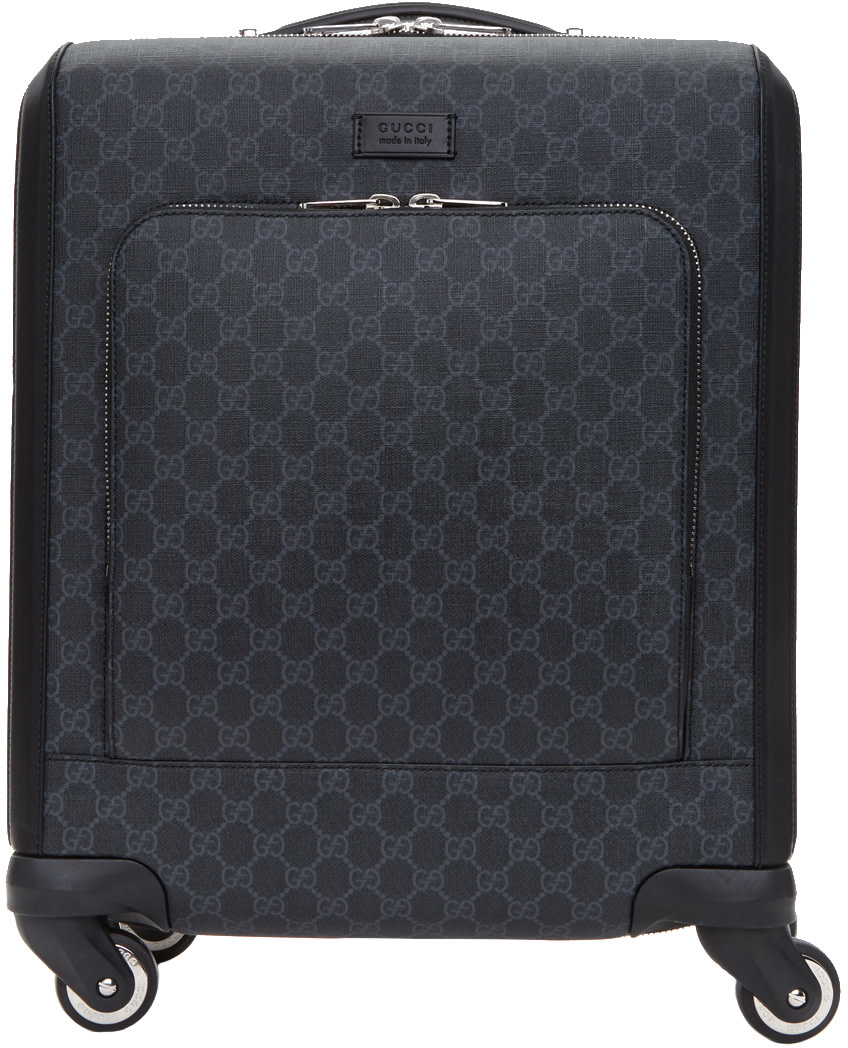 Leather-Trimmed Monogrammed Coated-Canvas Carry-On Suitcase in Grey