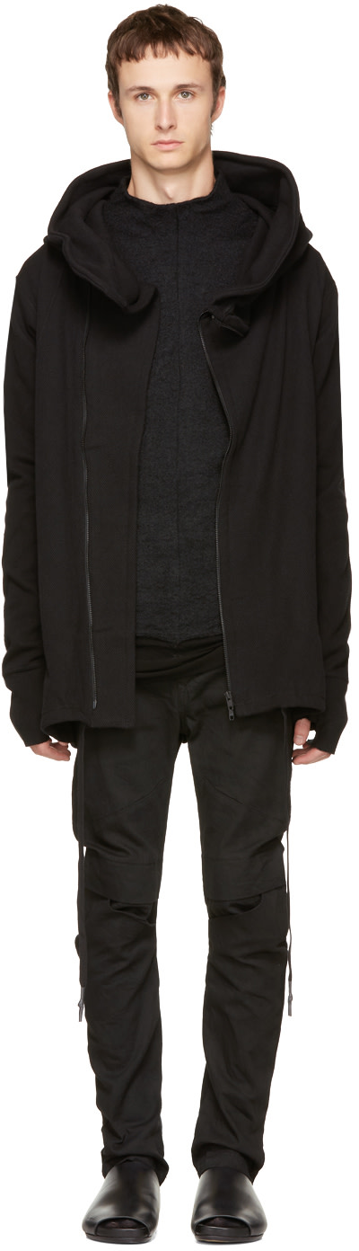 Black Hooded Zip Parka