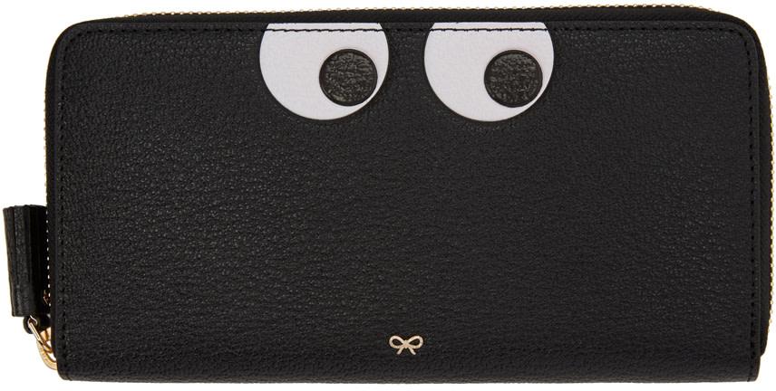 Anya Hindmarch Eyes Embossed Leather Zip Around Wallet, Black