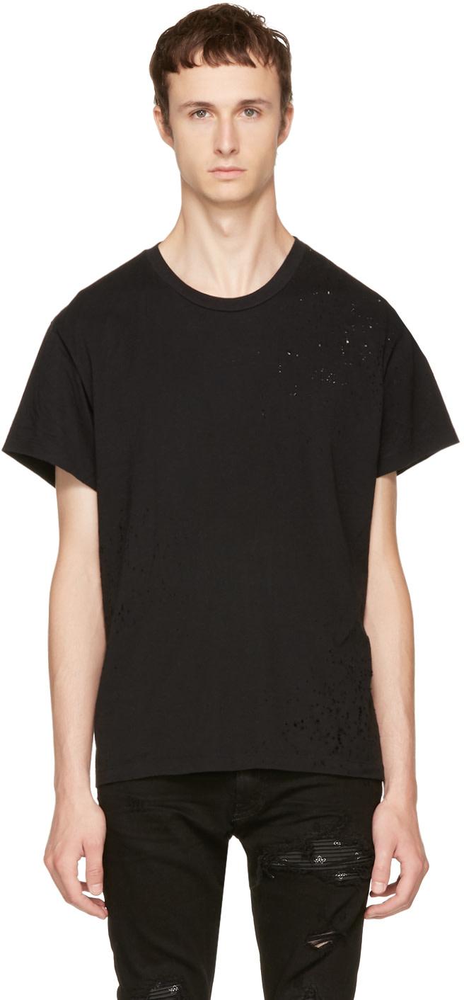 Amiri Shotgun Distressed Cotton T-shirt In Black