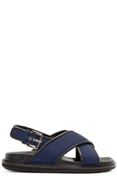 2bb4bc40 Marni Navy Nylon Crisscross Sandals from SSENSE - Styhunt