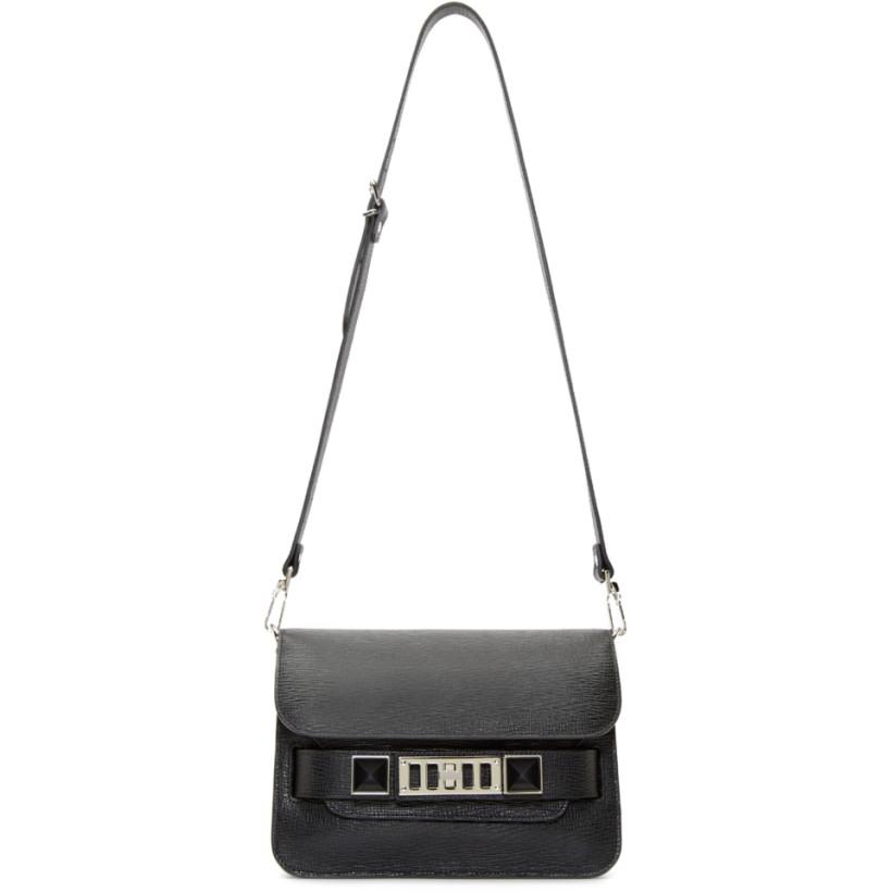 Proenza Schouler Mini Black Textured Leather PS11 Shoulder Bag