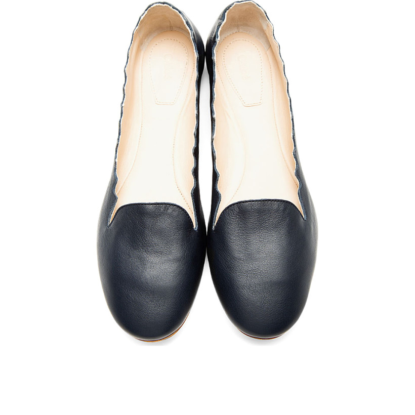 Chloé Deep Navy Leather Scalloped Flats