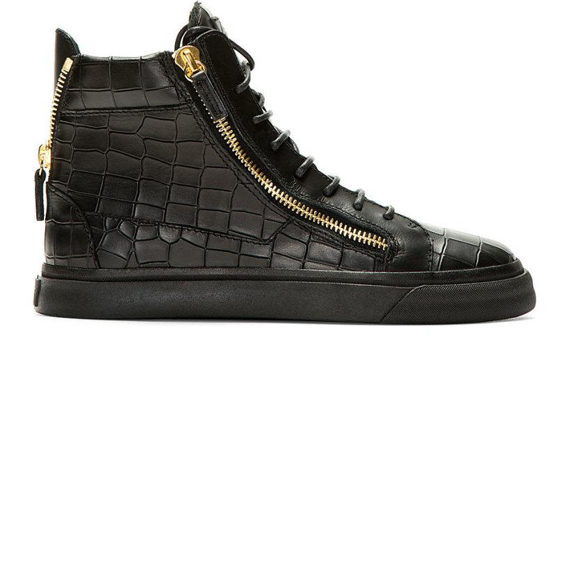 ce6f658167544 Giuseppe Zanotti Black Matte Leather Croc Embossed London Sneakers ...