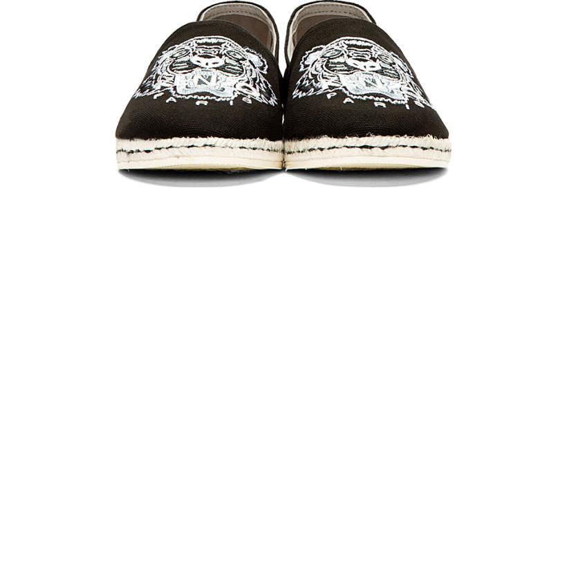 Kenzo Black & White Embroidered Tiger Spoon Espadrilles