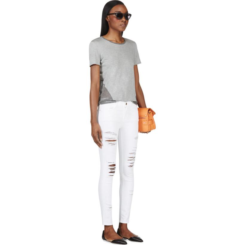 Frame Denim White Distresssed Le Color Rip Jeans