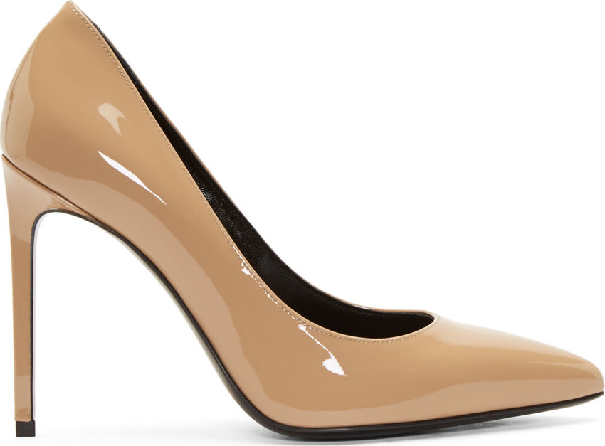 Saint Laurent Nude Patent Leather Paris Pumps