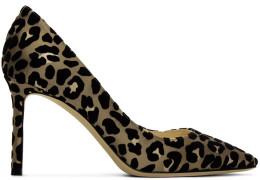 Jimmy Choo - Tan And Black Flocked Leopard Romi Heels