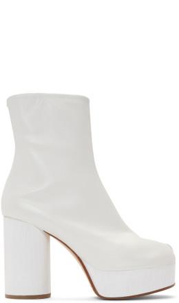 Maison Margiela - White Platform Tabi Boots