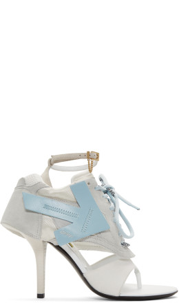 Off-White - Grey & Blue Runner Heel Sandals