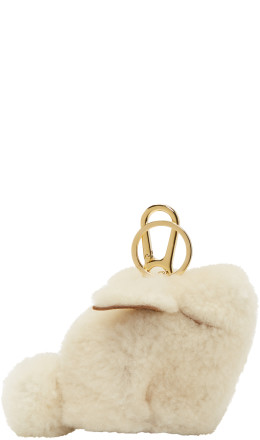 Loewe - Off-White Shearling Bunny Charm Keychain