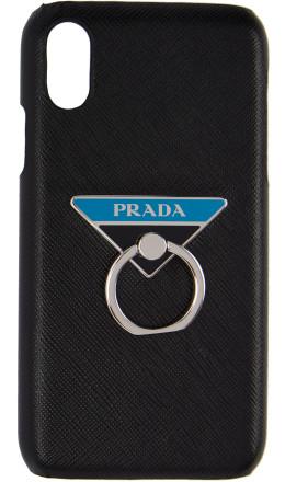Prada - Black Saffiano Ring iPhone XR Case
