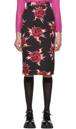 Prada - Black Broken Roses Pencil Skirt