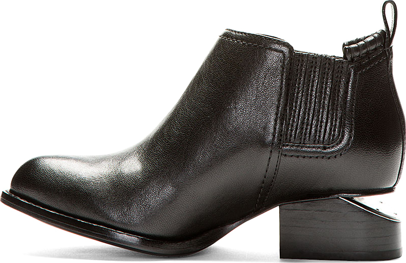 Alexander Wang Black Leather Cut-Out Heel Kori Ankle Boots