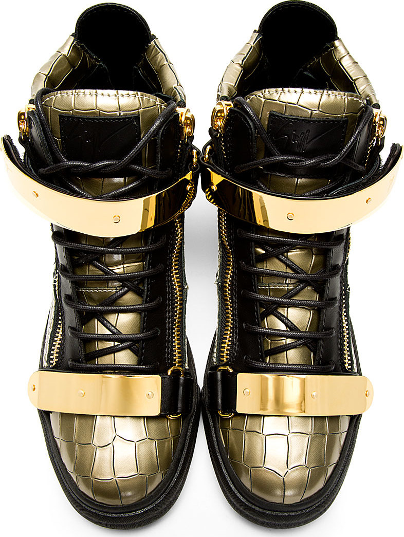 Giuseppe Zanotti: Gold Croc-Embossed High-Top Sneakers ...