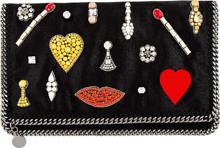 Stella McCartney Black Jewel Embellished Foldover Clutch