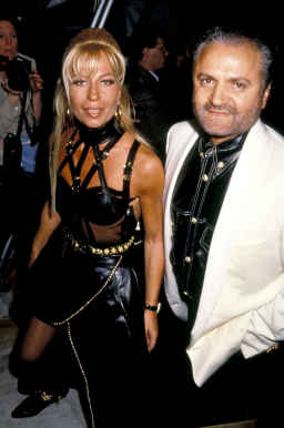 d6c13ee297284 Donatella and Gianni Versace. Top Image  Donatella Versace flanked by Carla  Bruni