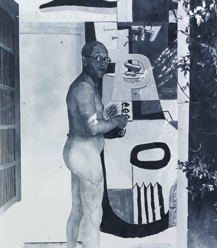 Oil painting of a photo of Le Corbusier vandalising E1027 by Eileen Gray
