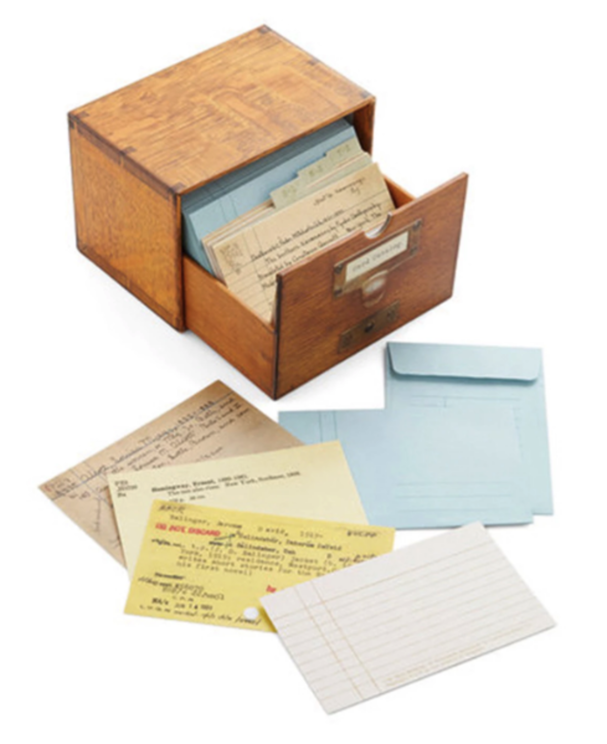 card catalog note cards and wooden storage box