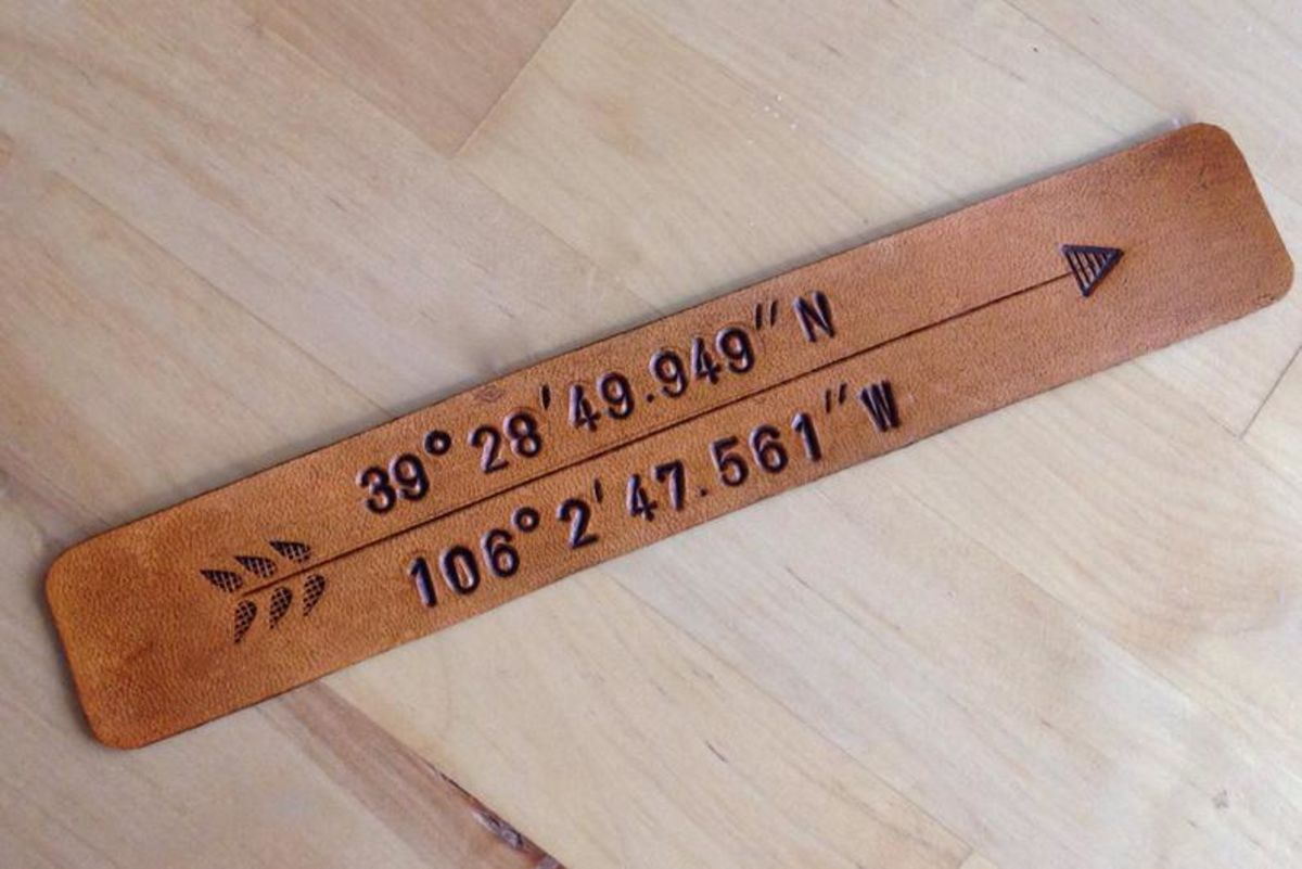 brown leather bookmark stamped with longitude and latitude