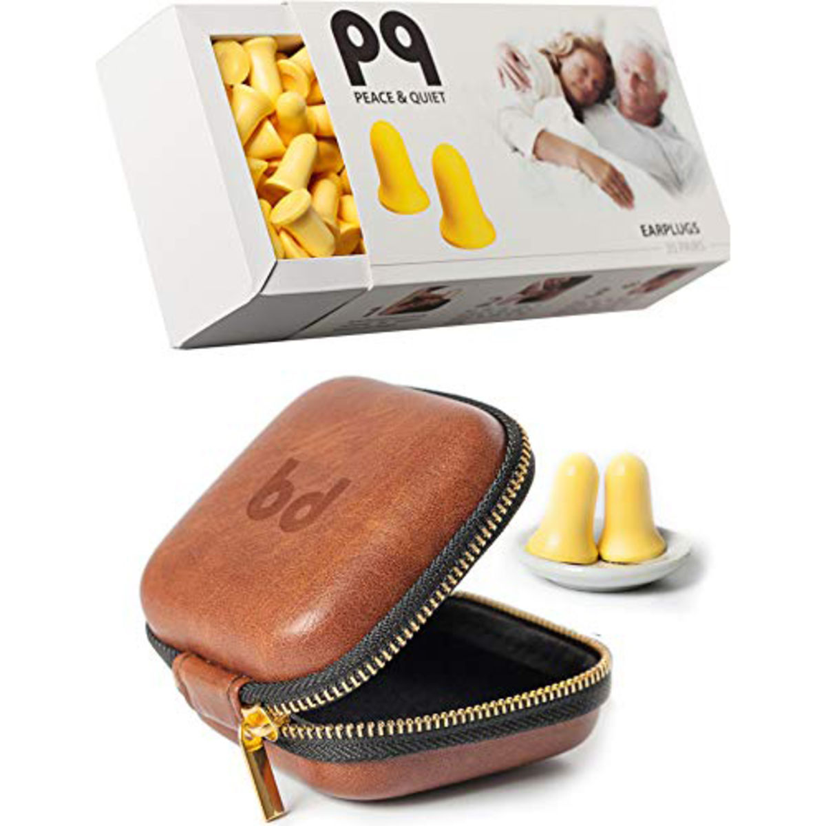 earplugs and brown leather case