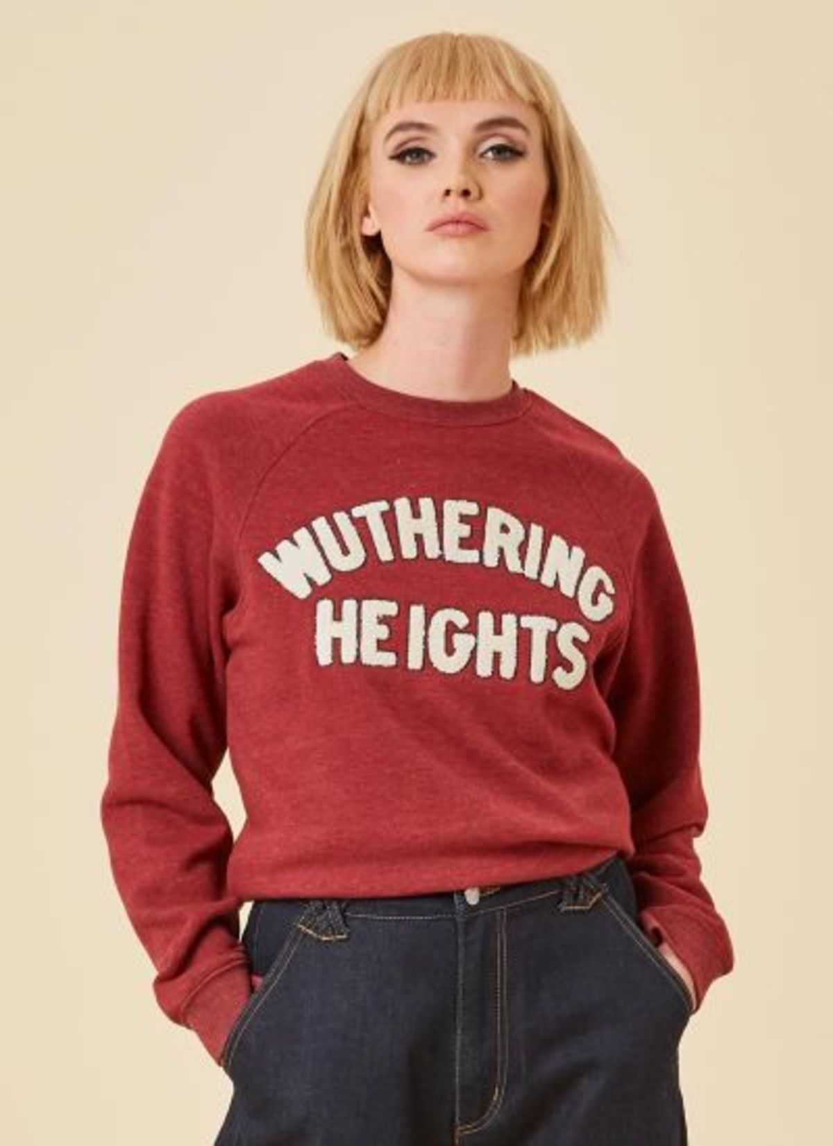 maroon sweatshirt with wuthering heights decal