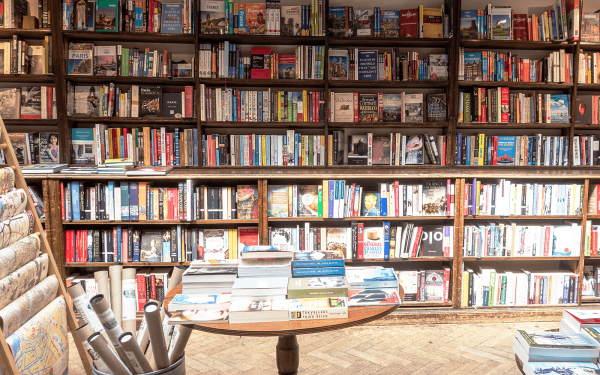 travel books at Daunt Books in London