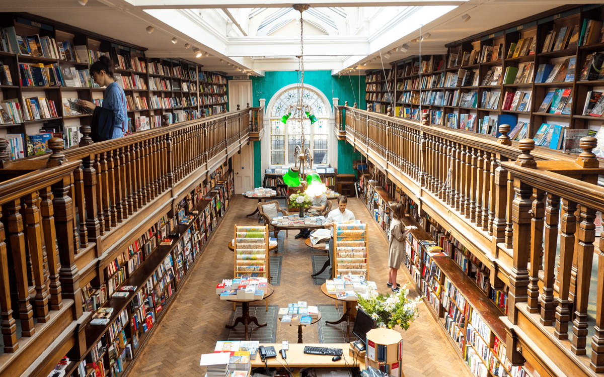 stained glass window at Daunt Books in London