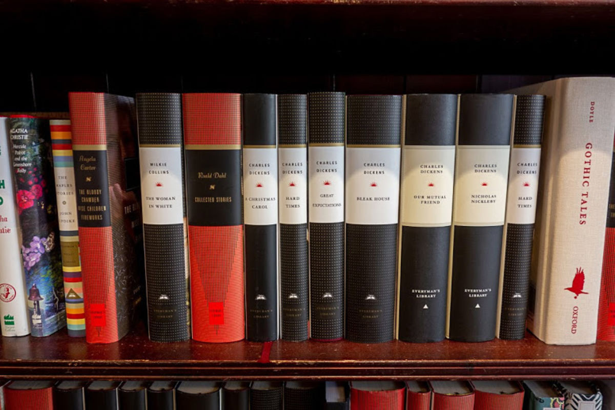 a bookshelf of gray and bold books at Daunt Books