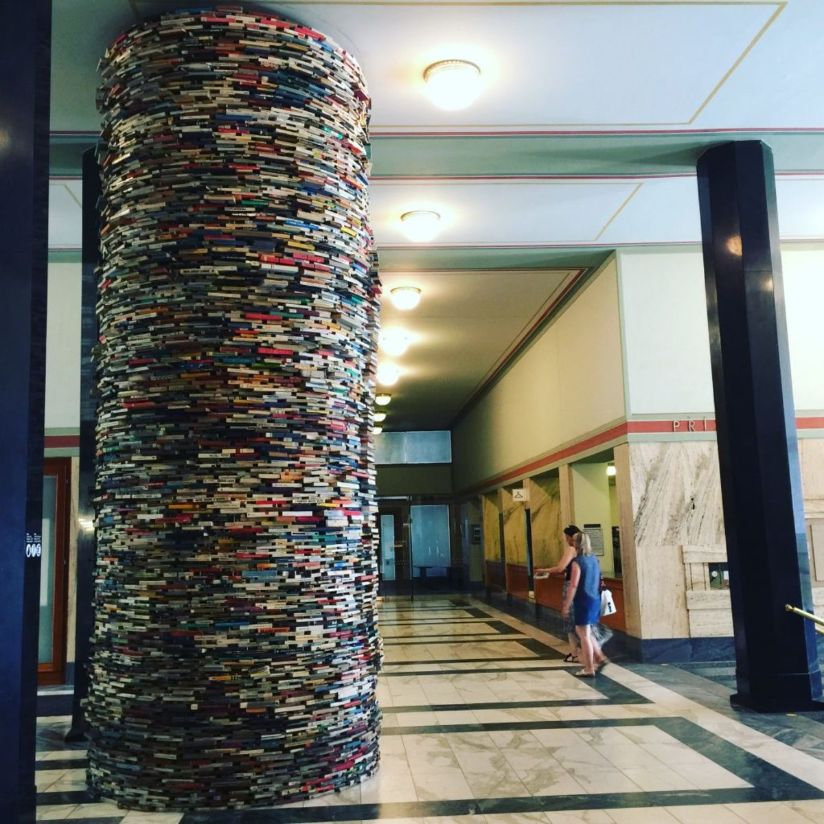 colorful tower made of books