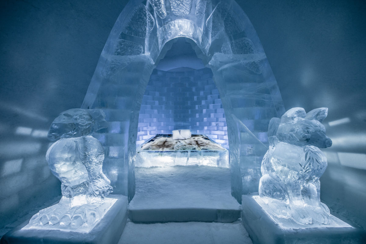 a suite made of ice at the icehotel