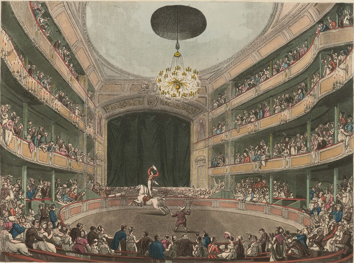 illustration of a horse in a circus ring inside a theater