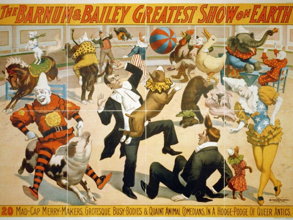 vintage poster for barnum and bailey circus