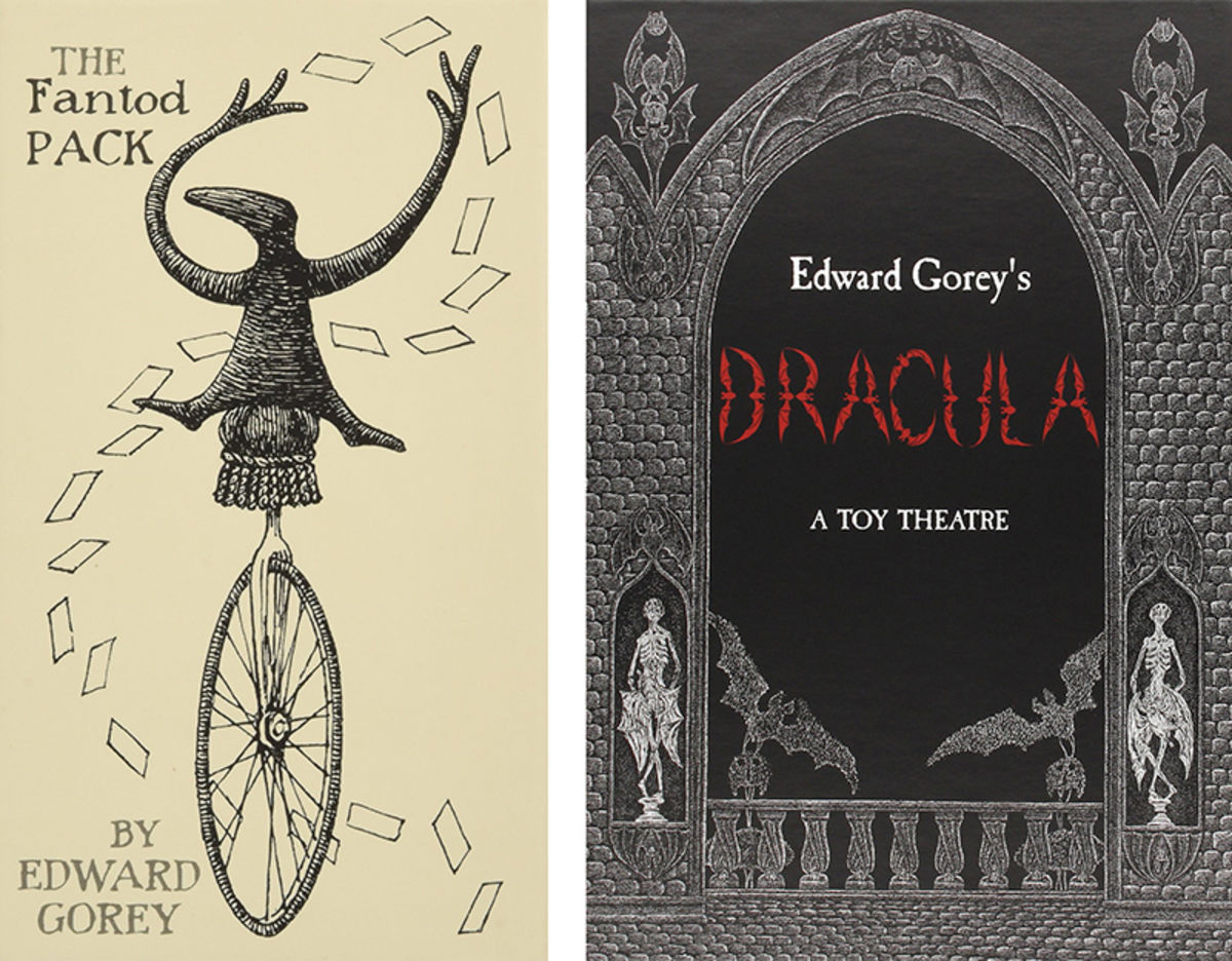 packet of edward gorey tarot cards and edward gorey dracula toy theater