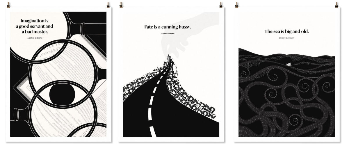 three black and white prints with geometric designs and literary quotes