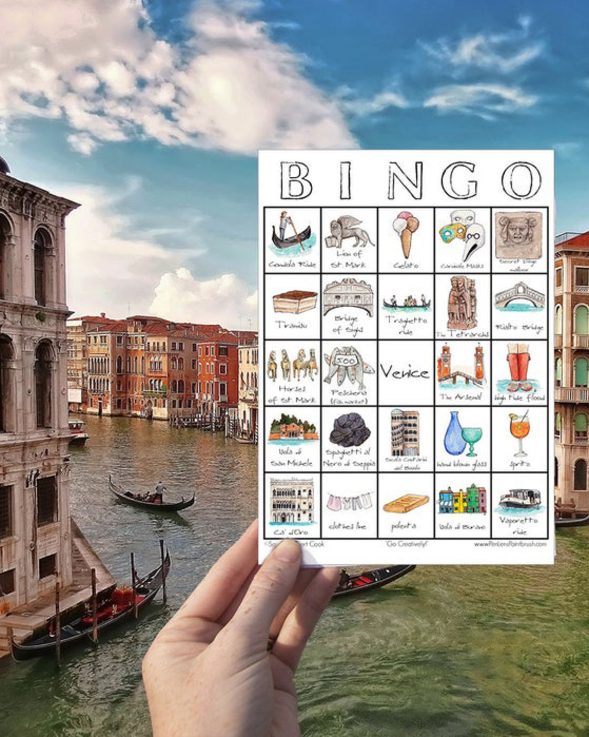 watercolor painting travel bingo cards