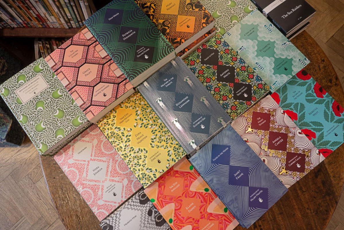 book covers with geometric designs at Daunt Books