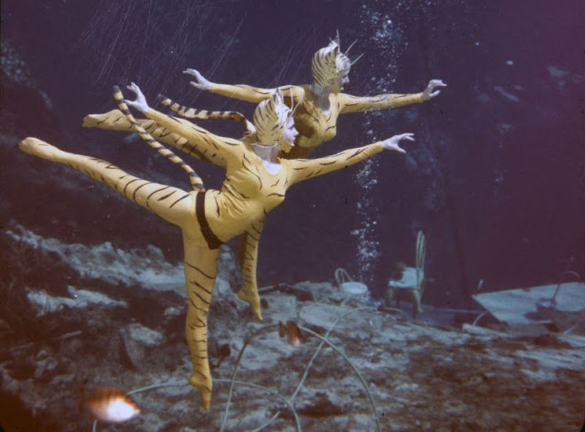 women dressed as tigers underwater