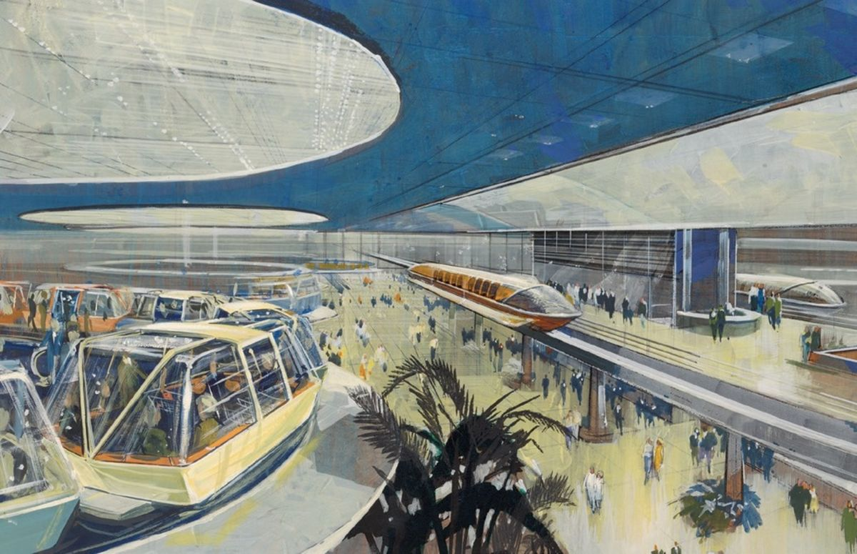 technical drawing of the epcot center monorail at disney world