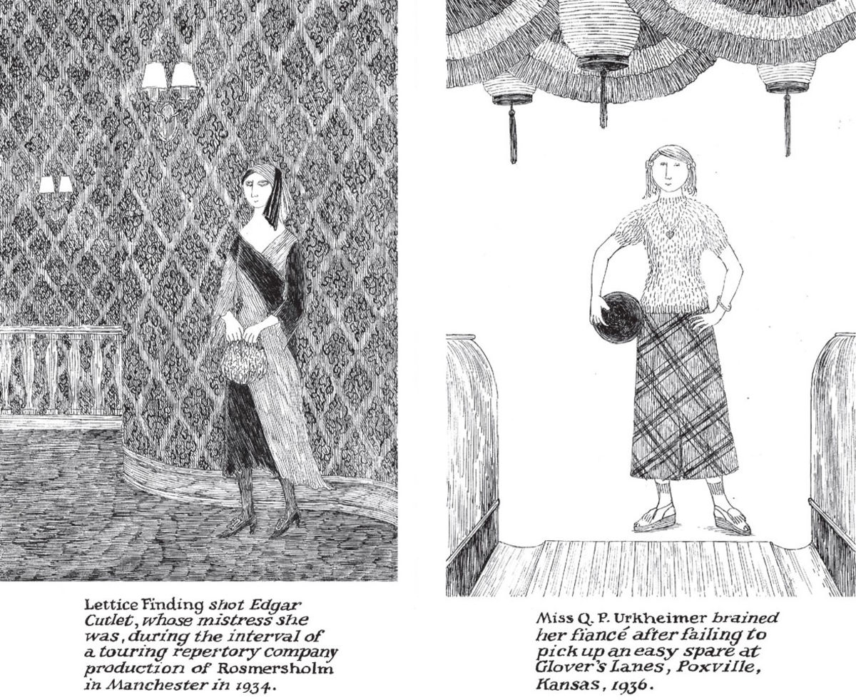 black and white drawings of 1930s women by edward gorey