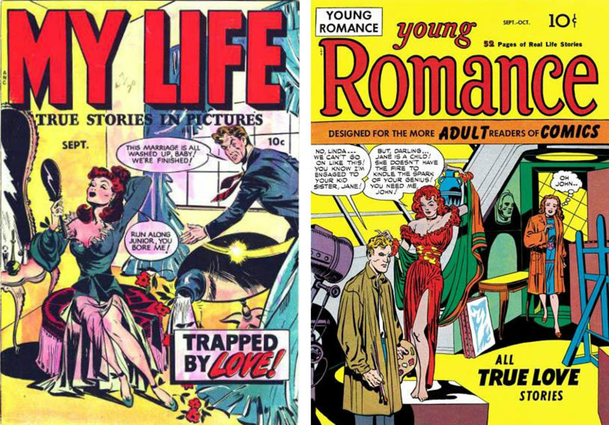 the covers of comic books with 1940s women and men
