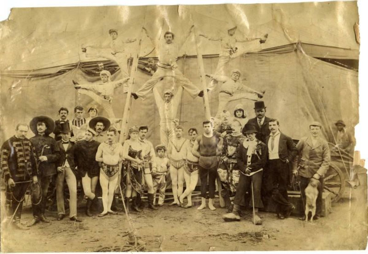 black and white photo of victorian circus performers