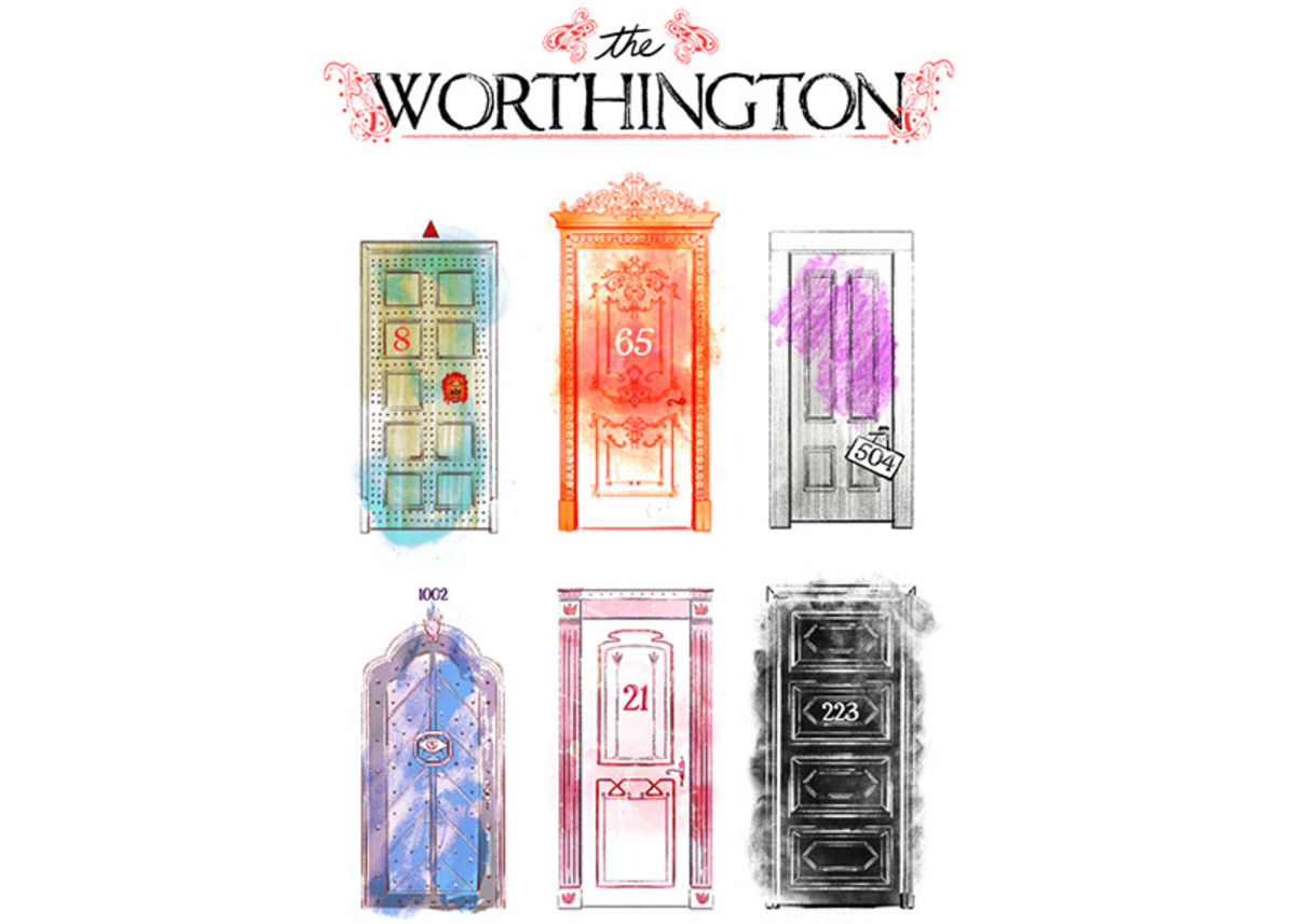 illustration of colorful apartment doors