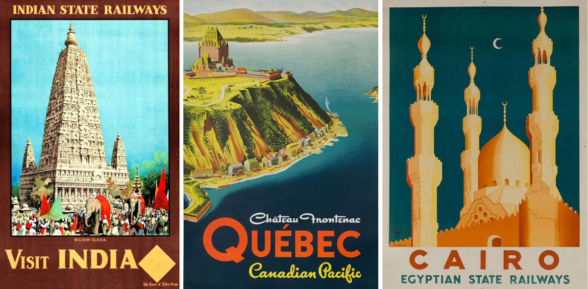 vintage travel posters for quebec, egypt, and india