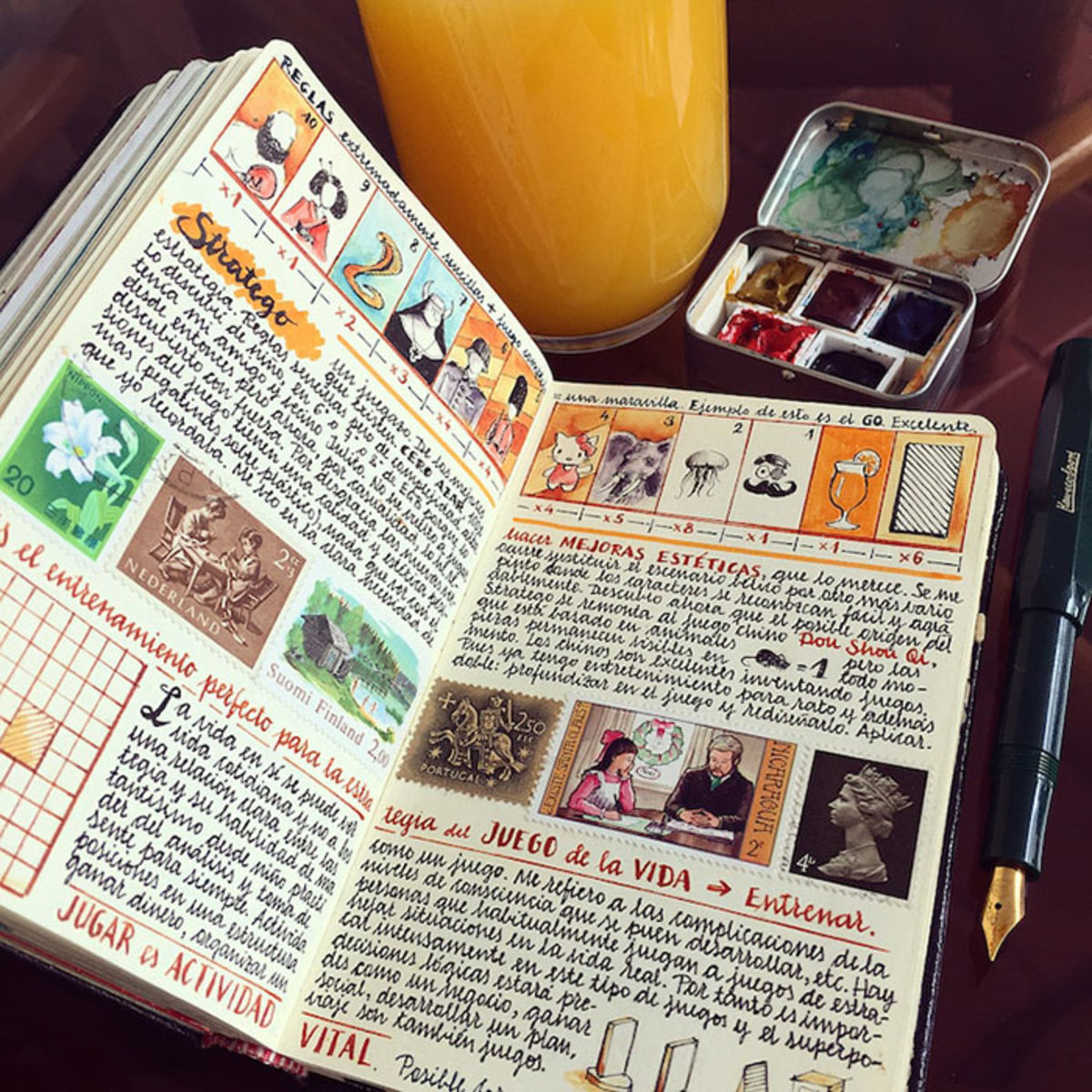 hand-colored travel journal pages