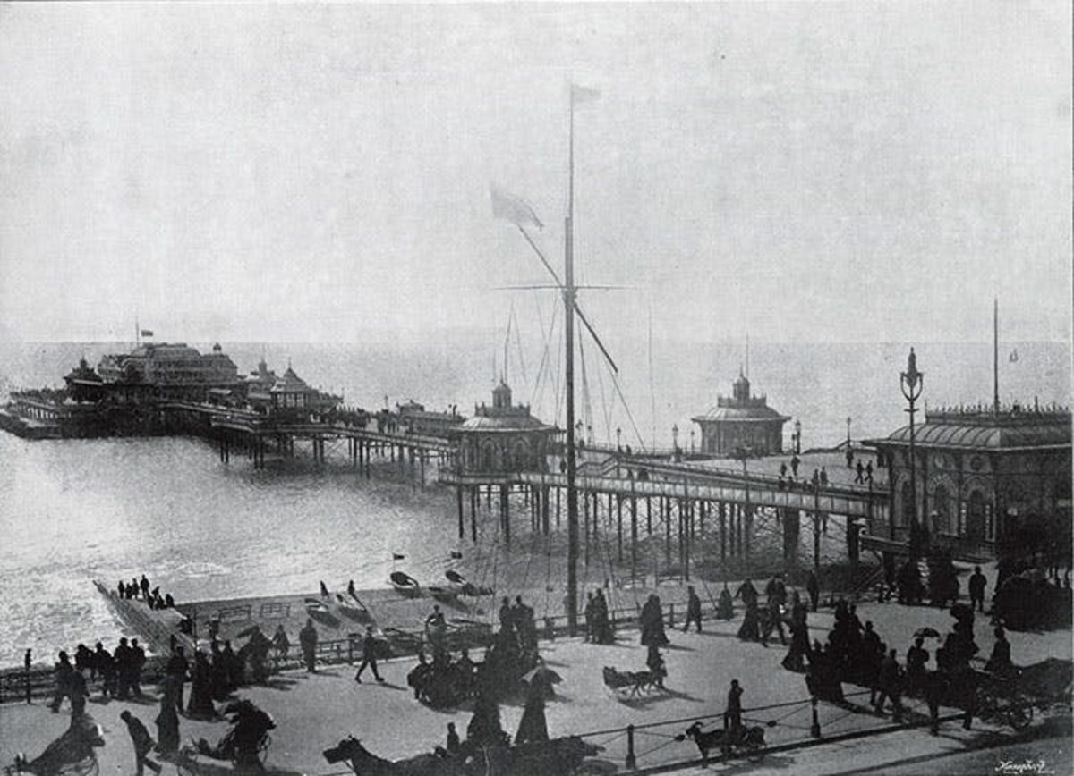 black and white vintage image of a victorian seaside pier