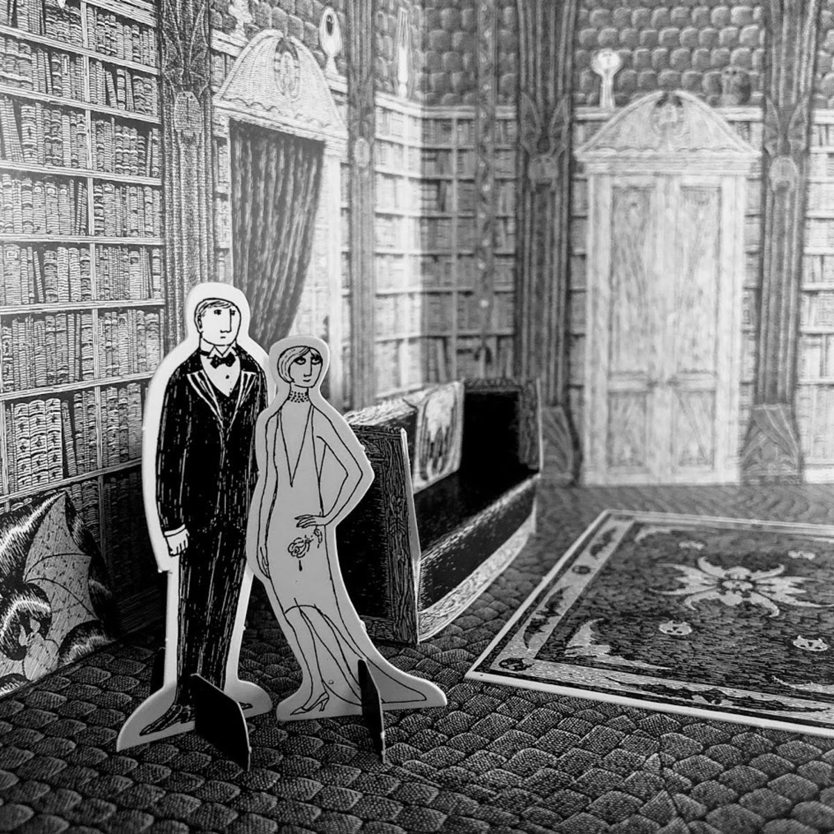 black and white drawing of edward gorey dracula toy theater