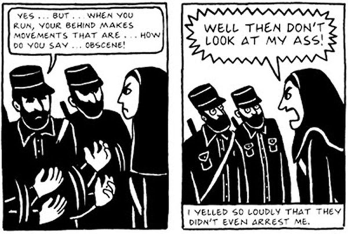 black-and-white comics panels from persepolis