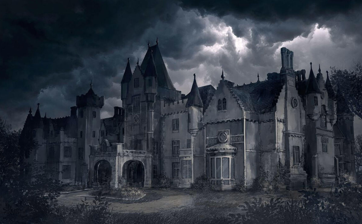 black and white illustration of haunted house
